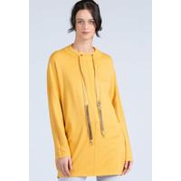 Monnari Oversizowy sweter z troczkami przy dekolcie 20W-QNS0280-K002