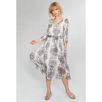 Monnari Wzorzysta sukienka z paskiem FEM-63911-00X