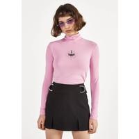 Bershka HEMD MIT STEHKRAGEN UND PRINT 02194168 Bluzka z długim rękawem pink BEJ21D0FS