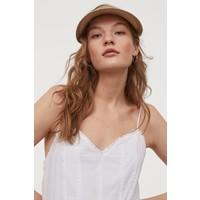 H&M Bawełniana sukienka z haftem 0854726001 Biały