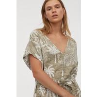 H&M Sukienka z domieszką lnu 0859363001 Jasna zieleń khaki/Pejzaż