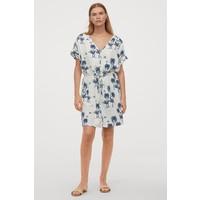 H&M Sukienka z domieszką lnu 0859363001 Naturalna biel/Palmy