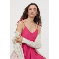 H&M Dżersejowa sukienka w serek 0873604007 Wiśniowy