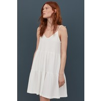 H&M Dżersejowa sukienka w serek 0873604007 Biały