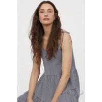 H&M Dżersejowa sukienka w serek 0873604007 Ciemnoniebieski/Białe paski
