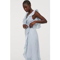 H&M Bawełniana sukienka 0825781004 Jasnoniebieski/Białe paski