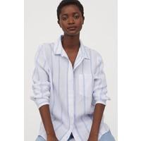 H&M Lniana koszula 0859139001 Biały/Jasnoniebieskie paski