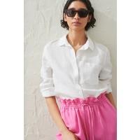 H&M Lniana koszula 0859139001 Biały