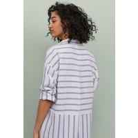 H&M Długa koszula z domieszką lnu 0860705001 Ciemnoniebieski/Białe paski