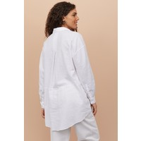 H&M Długa koszula z domieszką lnu 0860705001 Biały