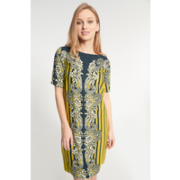 Quiosque Prosta sukienka w żółty wzór z krótkimi rękawami 4JL012910