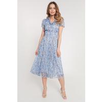 Quiosque Niebieska sukienka za kolana z motywem roślinnym 4JA018811