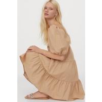 H&M Sukienka z bufiastym rękawem 0905614004 Beżowy