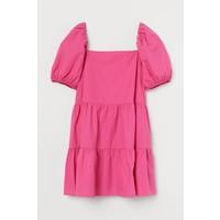 H&M Sukienka z bufiastym rękawem 0905614004 Wiśniowy
