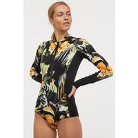 H&M Kostium kąpielowy 0806974001 Czarny/Kwiaty