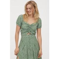 H&M Bluzka z tasiemką do ściągania 0876053003 Zielony/Kwiaty