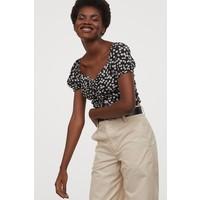 H&M Bluzka z tasiemką do ściągania 0876053003 Czarny/Białe kwiaty