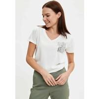 DeFacto T-shirt z nadrukiem ecru DEZ21D07O