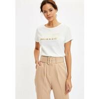 DeFacto T-shirt z nadrukiem ecru DEZ21D03H
