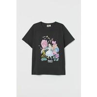 H&M H&M+ T-shirt z nadrukiem 0877487010 Szary/Alicja w Krainie Czarów
