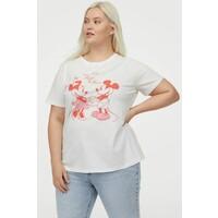 H&M H&M+ T-shirt z nadrukiem 0877487010 Biały/Myszka Miki
