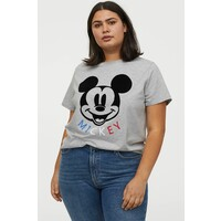 H&M H&M+ T-shirt z nadrukiem 0877487010 Jasnoszary melanż/Myszka Miki