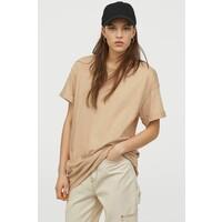 H&M Długi T-shirt 0711053016 Beżowy