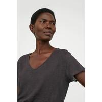 H&M Lniany T-shirt 0871542004 Ciemnoszary