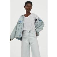 H&M Lniany T-shirt 0871542004 Biały