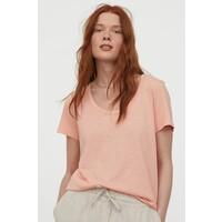 H&M Dżersejowy T-shirt 0856617003 Brzoskwinioworóżowy