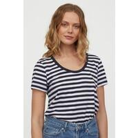 H&M Dżersejowy T-shirt 0856617003 Ciemnoniebieski/Białe paski