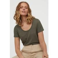 H&M Dżersejowy T-shirt 0856617003 Ciemna zieleń khaki