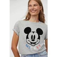 H&M T-shirt z motywem 0762470007 Szary melanż/Myszka Miki