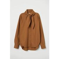 H&M Koszula z wiązaniem 0687114001 Brązowy