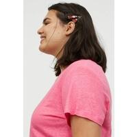 H&M H&M+ Lniany T-shirt 0891199003 Różowy