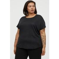 H&M H&M+ Lniany T-shirt 0891199003 Granatowy