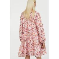 H&M Trapezowa sukienka 0889379009 Jasnobeżowy/Kwiaty