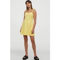 H&M Wzorzysta sukienka z dżerseju 0811333001 Żółty/Krata gingham