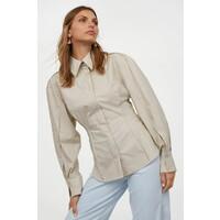 H&M Koszula z wciętą talią 0911867001 Jasnobeżowy