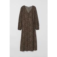 H&M Kopertowa sukienka żakardowa 0733362002 Czarny/Panterka