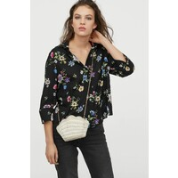 H&M Koszula z dekoltem w serek 0816241004 Czarny/Kwiaty
