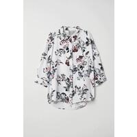 H&M Szeroka koszula 0458882003 Biały/Kwiaty