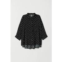 H&M Szeroka koszula 0458882003 Czarny/Biały wzór