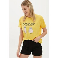 DeFacto T-shirt z nadrukiem yellow DEZ21D08A