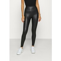 Topshop WET LOOK Legginsy black TP721A0Q8