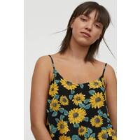 H&M Wiskozowy top na ramiączkach 0860525009 Czarny/Słoneczniki