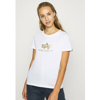 Alpha Industries NEW FOIL T-shirt z nadrukiem white/metal gold AL521D008