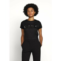 HUGO DENNA T-shirt z nadrukiem black/silver HU721D05A