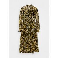 Tommy Jeans PRINTED MIDI SHIRT DRESS Sukienka koszulowa black/yellow TOB21C041