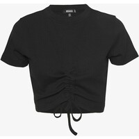 Missguided RUCHED SEAM SHORT SLEEVE CROP TOP T-shirt z nadrukiem black M0Q21D0H2